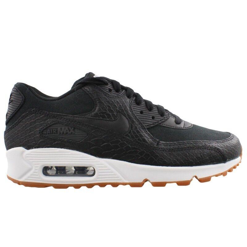 New Nike femmes Air Max 90 Premium Chaussures (896497-002) Noir / Noir -Gum- blanc