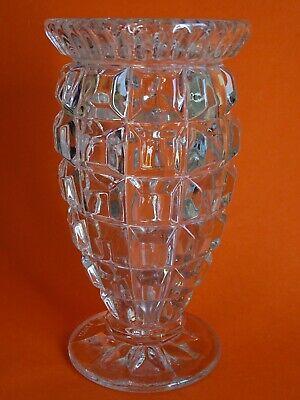 Ancien Vase En Cristal Moule Hauteur 20,5 Cm Firme En La Estructura