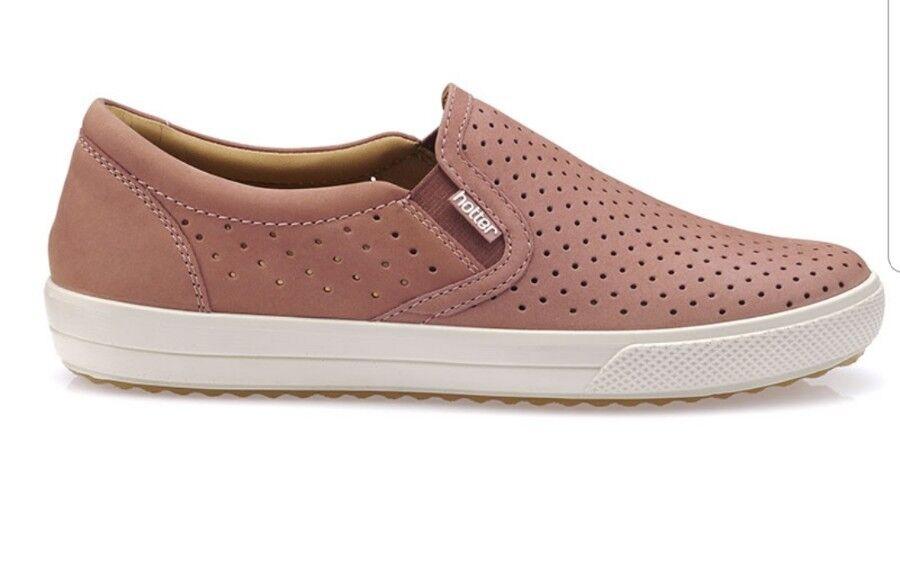 HOTTER DAISY SALMON NUBUCK Schuhe Slip On SIZE UK 8 STD