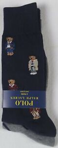 Polo Ralph Lauren 2 Pairs Dress Socks Teddy Bear Navy Blue NWT