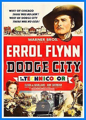 Reproduction. Wall art Dodge City Vintage movie Poster Errol Flynn