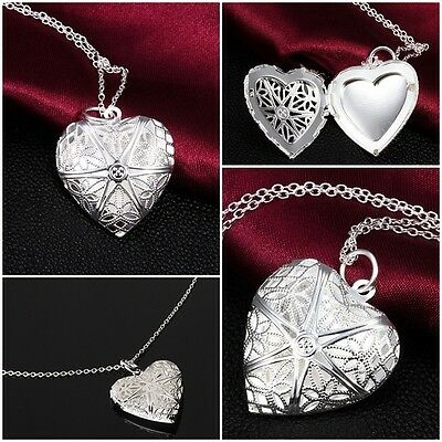 Vintage Charm Silver Love Heart Valentine Lover Locket Chain Necklace Pendant