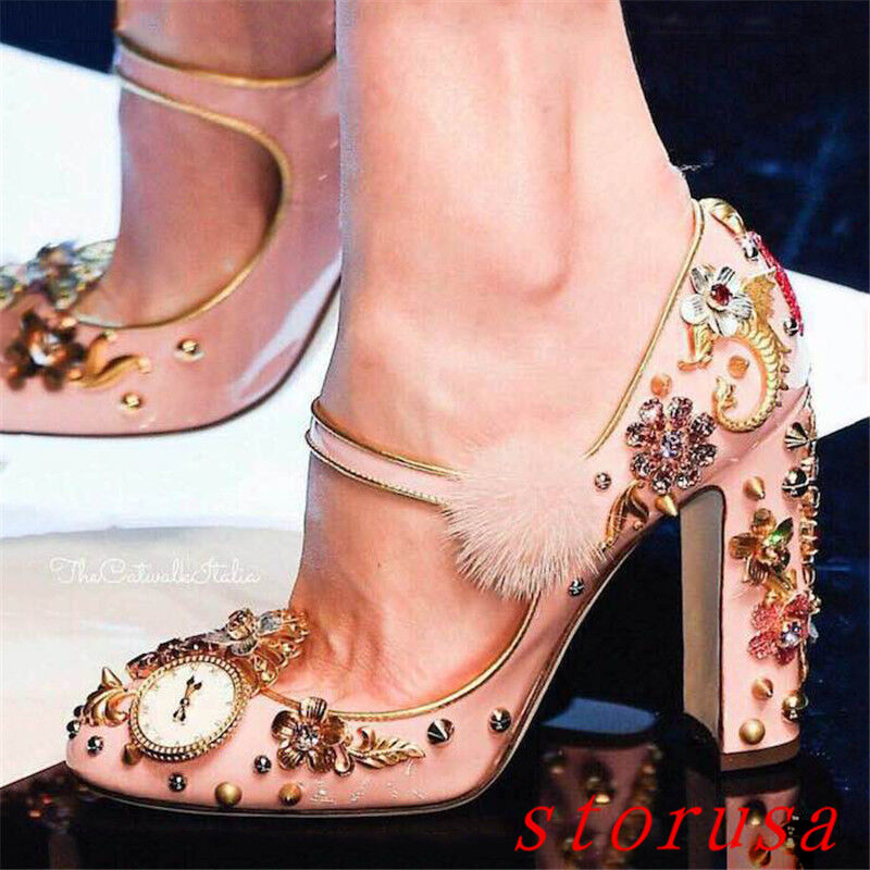 Pink Donna Lady Rhinestone Mary Jane Shoes Block Heel Princess Show Shoes Rivet