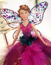 GISELA GRAHAM Christmas tree topper fairy fuchsia and rich purple jewel colours