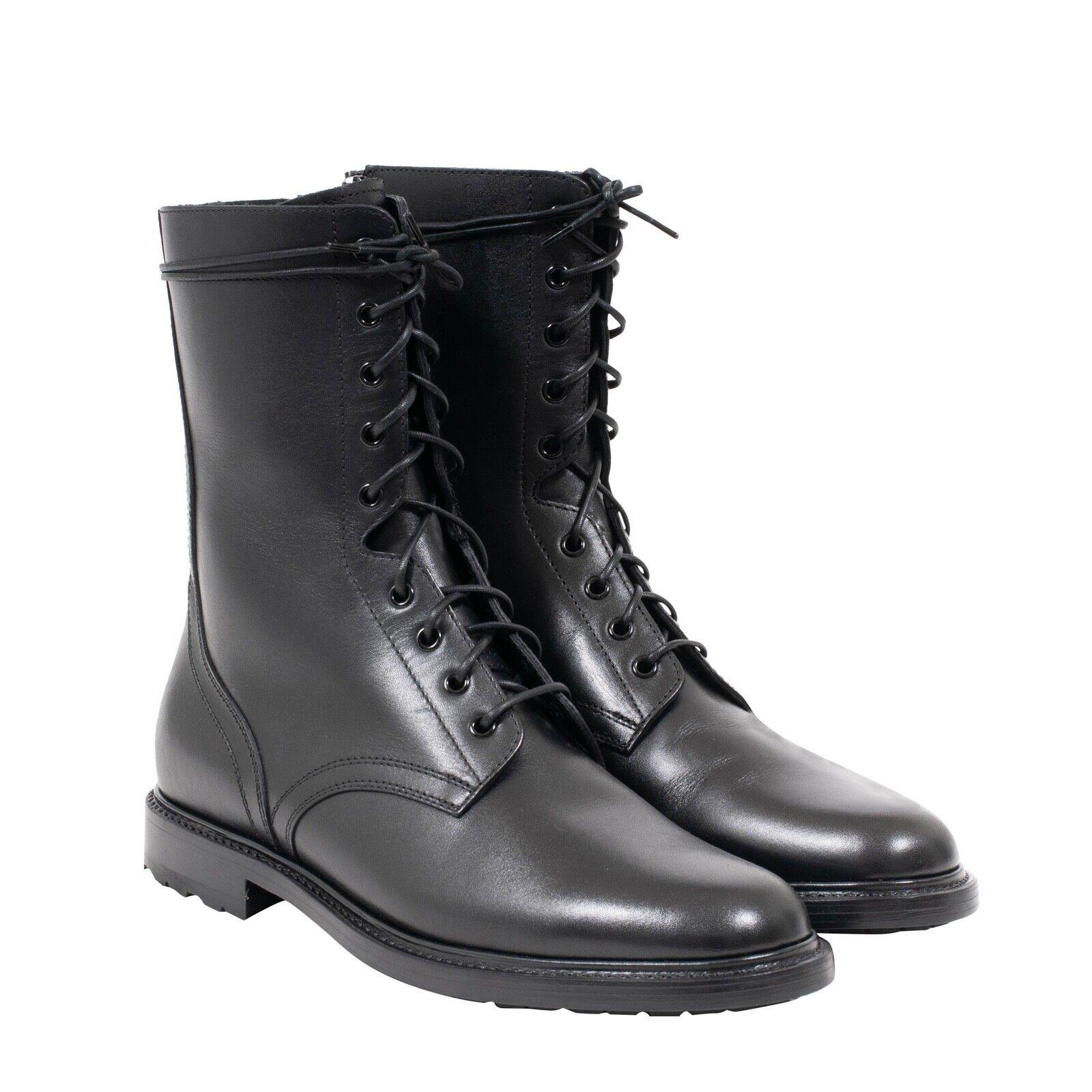 Celine Hedi Black Leather Side Zip Ranger Combat Boots Size 45-EU USA-12