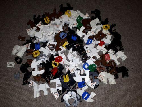 5 LEGO chevaux 3 Selle Système Noir Blanc Brun Chevalier Classic Kingdom