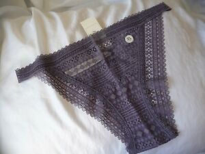XL, Gilly Hicks Vintage style Lace Cheeky panty, dark lavender, polyamide, NEW