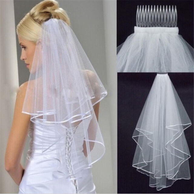 Elegant White Elegant Beauty Two Layers Short Net Tulle BrideFor WeddingBD