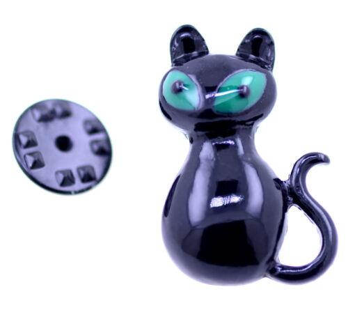 Brosche Halloween   Punk Goth Stil schwarz und grün Emaille Katze Pin
