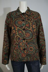 Coldwater Creek Misses SMALL Paisley Black Reversible Cotton Jacket
