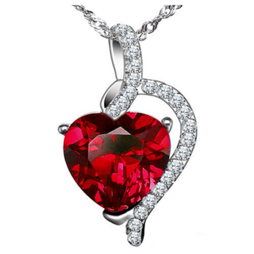 Sterling Silver 4.10 ct Created Red Ruby Heart Shaped Gemstone Pendant Necklace