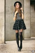 New H & M Black/White Plaid Check Mini Skirt  UK  M                    B50