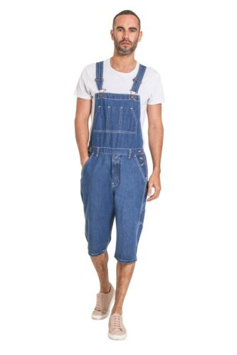 Men's Stonewash Denim Dungaree Shorts Overall Shorts for men