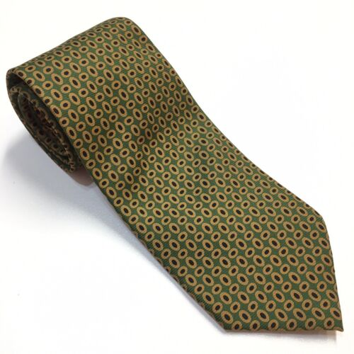 Coach Necktie Green Gold Black Italian Silk Men's