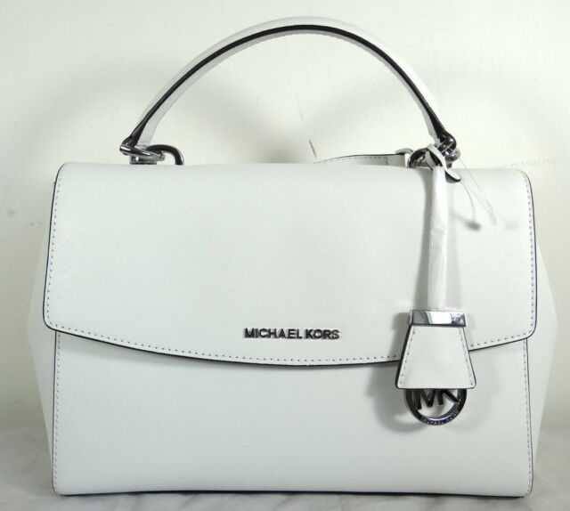 cedfaa79d71b Michael Michael Kors Ava Medium White Saffiano Leather Top Handle Satchel  Bag