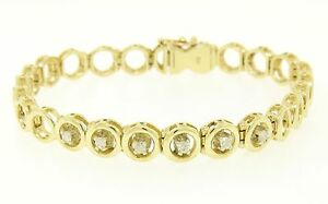 14k-Solid-Yellow-Gold-Round-Brilliant-Diamond-Circle-Open-Link-7-Inch-Bracelet