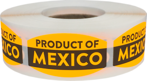 500 Labels on a Roll Product of Mexico Retail Stickers 0.75 x 1.375 Inches