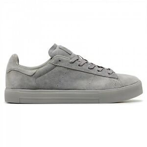 MENS-VOLLEY-GRASSCOURT-PENCIL-GREY-SNEAKER-CASUAL-SUEDE-LACE-UP-SHOES