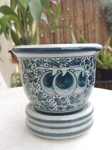 Keramik Blumentopf handbemalt in Thailan.. Top Design mit Untersetzer ein Blickf
