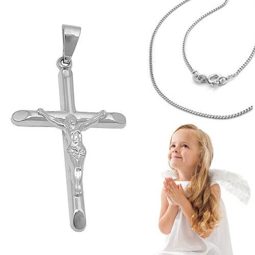 Trébol 333 niños comunión confirmación bautizo jesús cuerpo cruz con cadena de plata