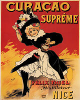 Poster Curacao Supreme Liqueur Nice French Girl Toasting Vintage Repro Free S/h