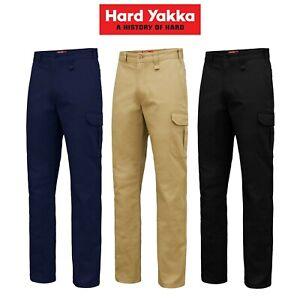 Mens-Hard-Yakka-Core-Basic-Cargo-Stretch-Cotton-Drill-Work-Pants-Tradie-Y02597