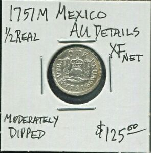 MEXICO-BEAUTIFUL-HISTORICAL-FERDINAND-VI-SILVER-1-2-REAL-1751-M-KM-67-1