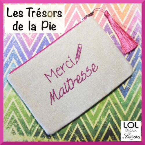 Trousse pochetteLOL BIJOUX Merci maîtresse Toile lin L Lolilota