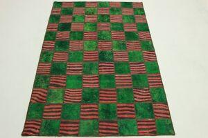 Patchwork-Vintage-Rarite-Orient-Tapis-vert-rouge-Design-240x160-handmade-2198