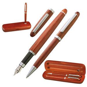 Edles-Holz-Schreibset-bestehend-aus-Kugelschreiber-und-Fuellfederhalter
