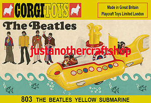 Corgi-Toys-803-de-The-Beatles-Yellow-Submarine-1969-CARTEL-ANUNCIO-FOLLETO-signo-de-tienda