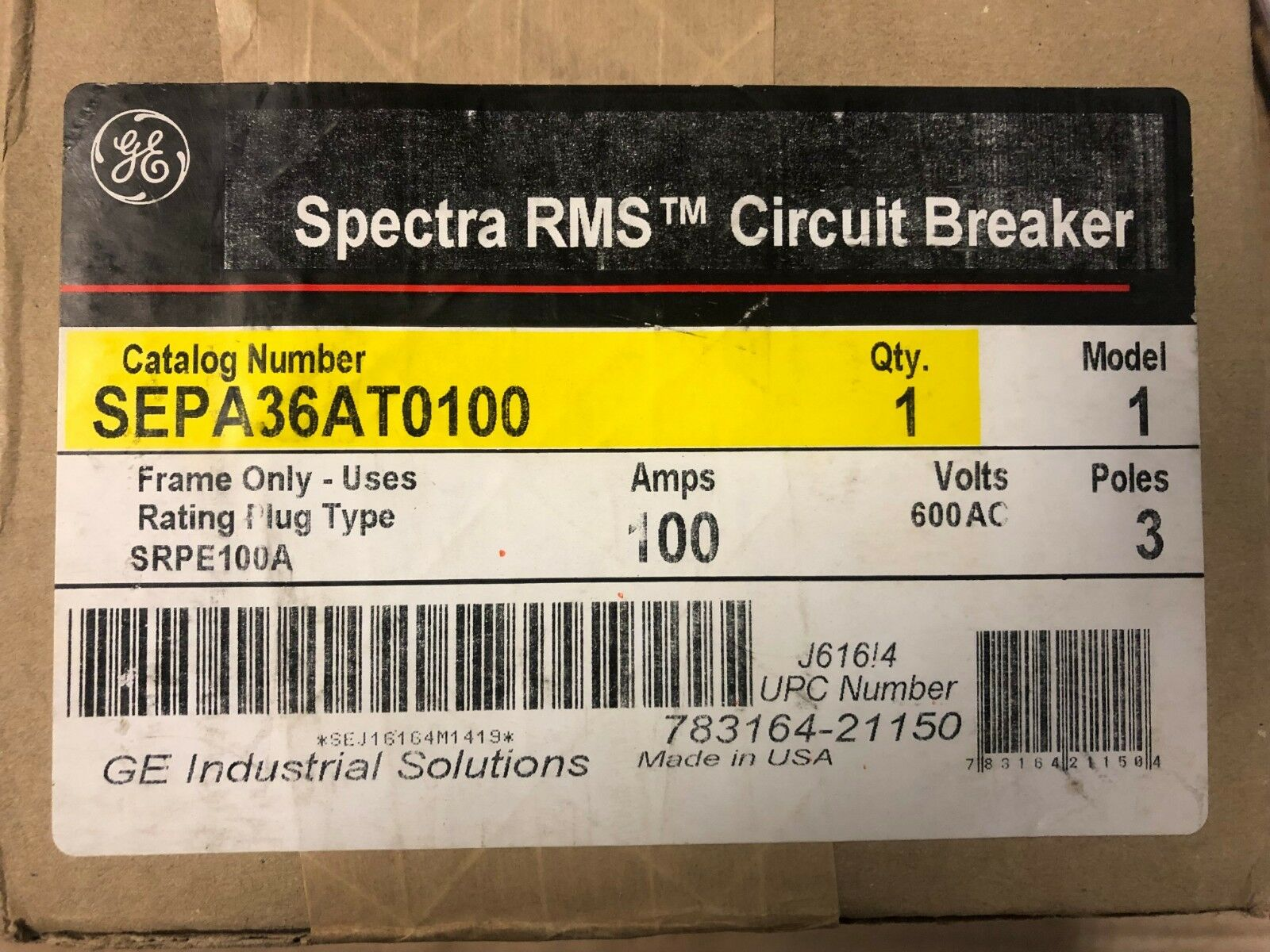 General Electric Sepa36at0100 Spectra Rms Circuit Breaker Ebay Arc Fault Interrupter Afci Ge Industrial Solutions Norton Secured Powered By Verisign
