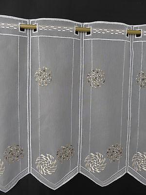 m/€ 15,63 Scheibengardine Gardine Bistrogardine 52 hoch weiß bestickt braun