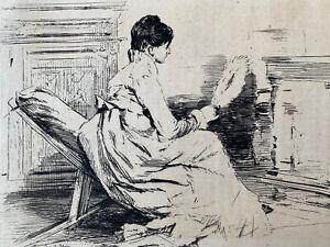 Jules jacquemart etching eau forte etching woman in jean Berne Bellecour