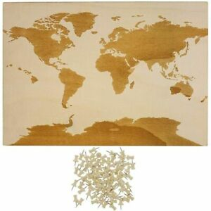 World-Wood-Travel-Map-for-Wall-Decor-with-100-Push-Pins-16-5-x-11-5-Inches