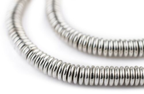 Smooth Shiny Silver Heishi Beads 6mm White Metal 16 Inch Strand