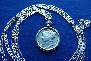 Silver-Antique-Mercury-Dime-War-Era-Pendant-on-a-30-034-925-Sterling-Silver-Chain