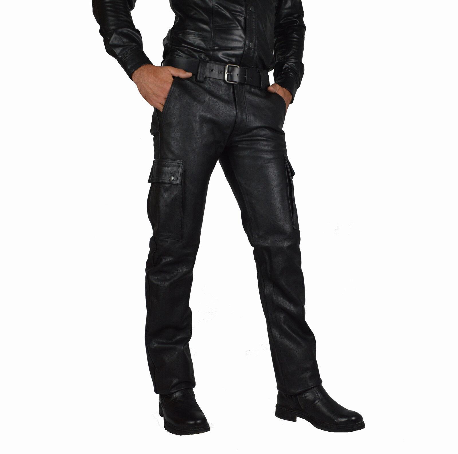 32 Waist  Cargo Lederhose,Combat Leather trousers,Rindleder cargohose,Leder hose