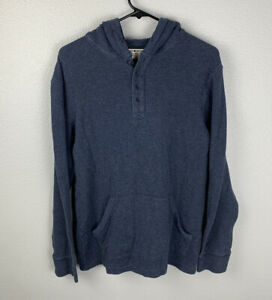Lucky-Brand-Henley-Hoodie-Blue-Mens-S-Small