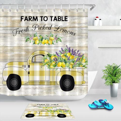 Lemons Retro Truck Pickup Rustic Wood Plank Waterproof Fabric Shower Curtain Set