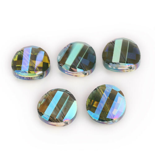 10PCS 14mm Faceted Glass Crystal Round Flat Beads Spacer DIY Jewelry Finding