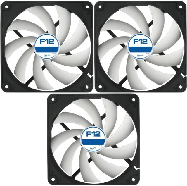3 x Pack of Arctic Cooling F12 120mm PC Case Fan Rev 2 Silent High Performance