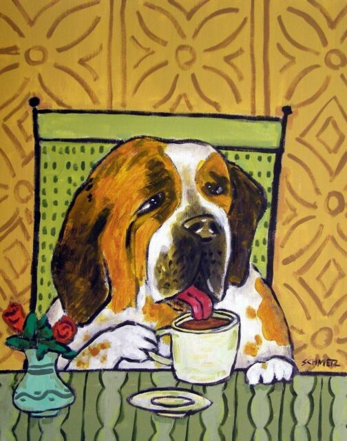 Pug dog art 13x19  pop art folk modern painting  surfing gift GLOSSY PRINT