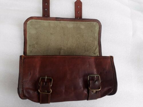Leather Tool Pouch Brown Motorcycle Saddlebag Roll Barrel Bag Storage Pannier