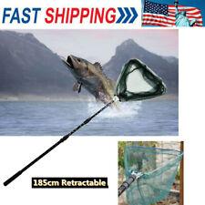 Portable Triangular Brail Folding Fishing Net Landing Net with Pole Rod MG