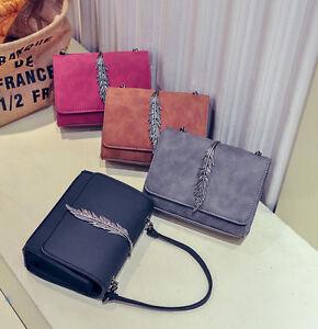 Women-Shoulder-Bag-Tote-Messenger-Leaf-PU-Leather-Crossbody-Satchel-Handbag-HC