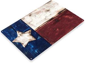 TIN-SIGN-Texas-Flag-Metal-Decor-Rustic-Wall-Art-Store-Shop-Bar-Cave-B070