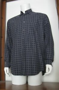 L-Men-Zanella-Long-Sleeve-Button-Shirt-Gray-Black-Geometric-100-Cotton-EUC