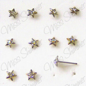 STERLING-SILVER-NOSE-STUD-22g-AB-CZ-STAR-SILVER-NOSE-PIN-STUD