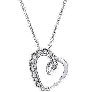 Amour Sterling Silver Diamond Accent Heart Necklace
